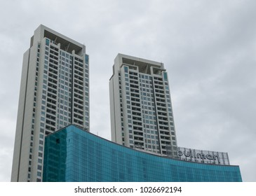 JAKARTA, INDONESIA - JANUARY 5, 2018: Outside view of Pullman Hotel in Central Park