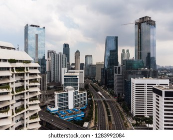Jakarta, Indonesia - January 6 2019: Aerial view of Jakarta business district along Sudirman street during the car free day hold every Sunday morning in Indonesia capital city.