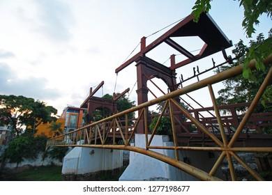 JAKARTA, INDONESIA - JANUARY 7, 2019 : KOTA INTAN BRIDGE is the oldest bridge in Indonesia. Build in 1628 under goverment  of Vereenigde Oostindische Compagnie, VOC.