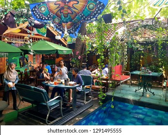 Jakarta, Indonesia - January 7 2019: Interior of a traditional Javanese restaurant in Jakarta, Indonesia.