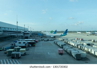 Jakarta, Indonesia - January 7, 2019: Garuda Indonesia and Citilink aircrafts at Soekarno Hatta International Terminal 3.