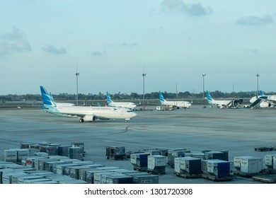 Jakarta, Indonesia - January 7, 2019: Garuda Indonesia Boeing 737 taxiing at Soekarno Hatta International Airport terminal 3