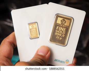 Jakarta, Indonesia, January 7th 2021 : Fine Gold Bar 999 that produced by PT Aneka Tambang (Antam) Indonesia