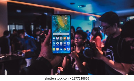 Jakarta, Indonesia - January 8, 2019: The Huawei Mate 20 has a 6.53 inch flat LCD with 1080p resolution.