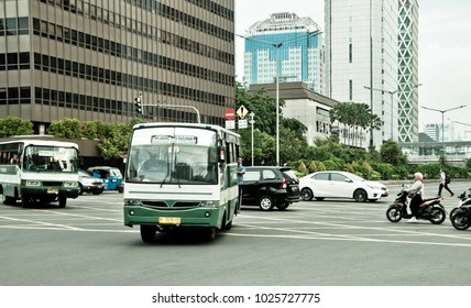 JAKARTA, INDONESIA - JANUARY 9 2018: Traffic at Thamrin street area, Central Jakarta, Indonesia.