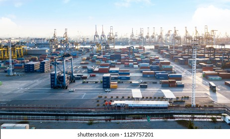 JAKARTA - Indonesia. July 05, 2018: Aerial view of stacked containers at industrial port in Jakarta, Indonesia
