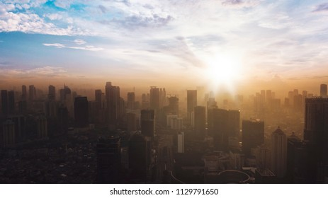 JAKARTA - Indonesia. JULY 05, 2018: Silhouette high buildings at sunrise time in Jakarta city