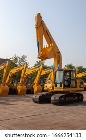 JAKARTA, INDONESIA- July 08, 2011: Heavy equipment including trucks specially designed for executing construction tasks, most frequently ones involving earthwork operations such as coal mining.