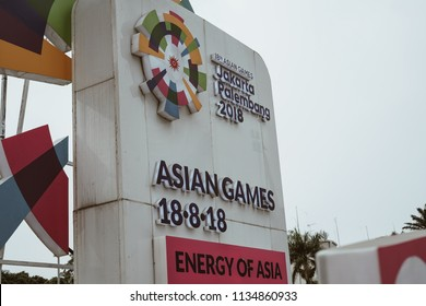 JAKARTA, INDONESIA - July 08, 2018: Asian Games 2018 Sign at Hotel Indonesia roundabout
