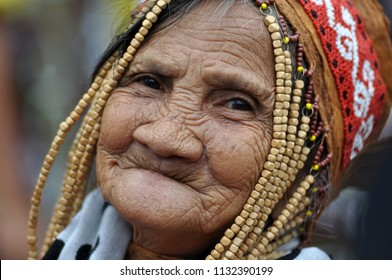 Jakarta, Indonesia - July 1, 2018: Indung Sabik, she is 128 years old from Dayak Meratus tribe.
