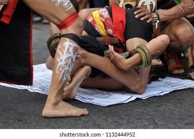Jakarta, Indonesia - July 1, 2018: Balian Bulat the traditional dance from Dayak Baanyan tribe, Tabalong, South Kalimantan