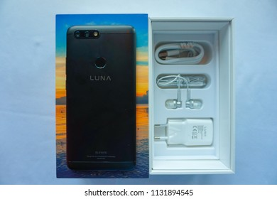 Jakarta, Indonesia - July 11, 2018: The Foxconn Luna G8, mid-range smartphone comes with a full screen design and dual camera rear.