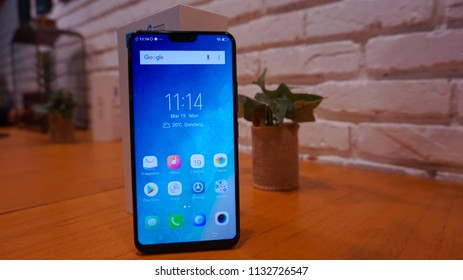 Jakarta, Indonesia - July 12, 2018: Vivo V9 Android smartphones with a notch on the display.