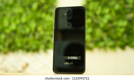 Jakarta, Indonesia - July 13, 2018. The beautiful smartphone Asus Zenfone 5Q, also known as Asus Zenfone 5 Lite. It's got four cameras in total.