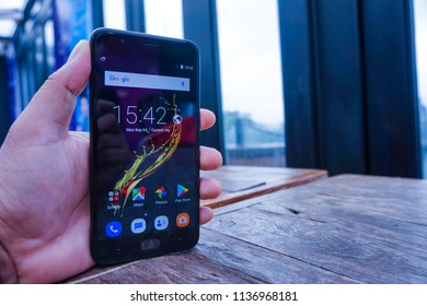Jakarta, Indonesia - July 18, 2018: The Sharp R1S comes with 5.5-inch IPS LCD 1280×720 pixels in resolution and 267 pixel per inch density.