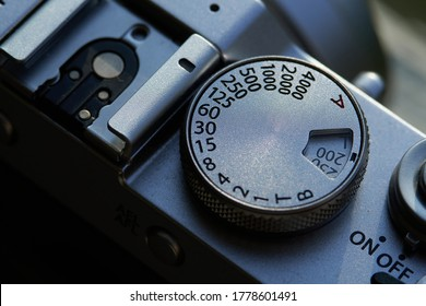 Jakarta, Indonesia - July 18, 2020: The ISO and shutter speed dial on Fujifilm X100F camera.