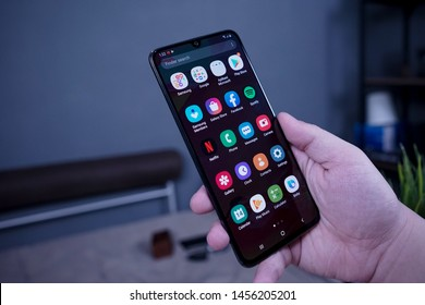 Jakarta, Indonesia - July 20, 2019: The Samsung Galaxy A70 Android smartphone running the new One UI software, which is built on top of Android 9 Pie.
