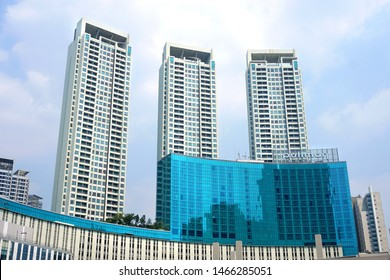 Jakarta, Indonesia - July 2019 :  Pullman hotel at Central park, west Jakarta