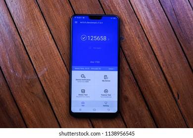 Jakarta, Indonesia - July 21, 2018: Vivo V9 6GB RAM and Qualcomm Snapdragon 660 SoC scores a total of  125.658 on AnTuTu.
