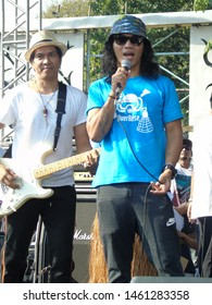 Jakarta, Indonesia - July 21, 2019: Kaka, Ridho and environmental activists gave speeches on a single-use plastic-free action.