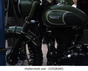 Jakarta, Indonesia - July 22, 2018: Gibran Rakabuming's motorbike, President Jokowi's first child on display at Otobursa Tumplek Blek, Kemayoran 2018.