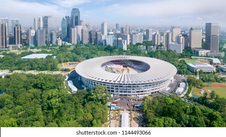 JAKARTA - Indonesia. JULY 24, 2018: Aerial view of Senayan stadium with skyscrapers in downtown Jakarta