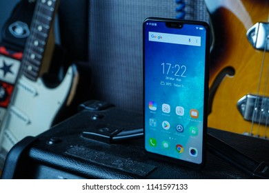 Jakarta, Indonesia - July 25, 2018: The notch on Vivo V9 is much shorter and has the selfie sensor and speaker.