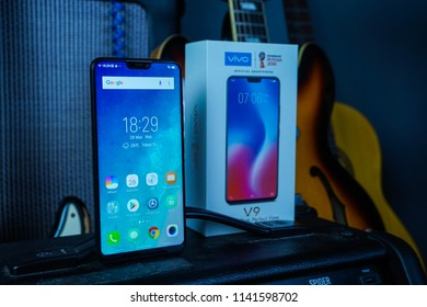 Jakarta, Indonesia - July 25: The Vivo V9 smartphone features a 6.3-inch full HD+ IPS display with Corning Gorilla Glass 3 on top. There's also 2.5D curved glass and a 19:9 aspect ratio.
