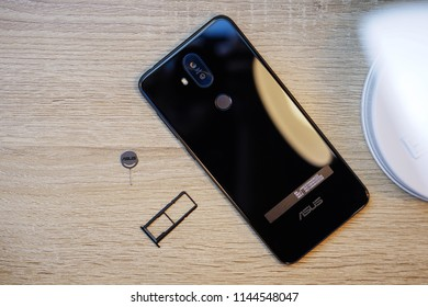 Jakarta, Indonesia - July 29, 2018. The beautiful smartphone Asus Zenfone 5Q, also known as Asus Zenfone 5 Lite. It's got four cameras in total.
