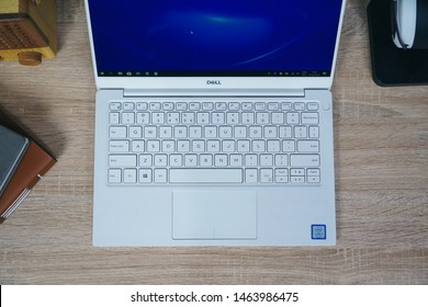 Jakarta, Indonesia - July 29, 2019: Side part of keyboard Dell XPS 13 9380, has a full size backlit chiclet keyboard with 1.3mm travel.