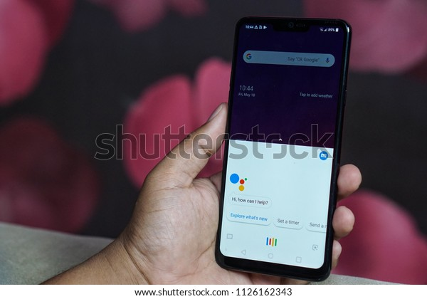 Jakarta, Indonesia - July 3, 2018. LG G7 ThinQ with AI takes your connected experience to a new level.