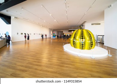 JAKARTA - Indonesia. JULY 31, 2018: Image of visitors enjoying art exhibitions in the Museum Macan