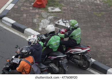 Jakarta, Indonesia - June 03 2016: Gojek motorbike taxi on street .Gojek is Indonesian transportation startup