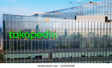 JAKARTA - Indonesia. June 05, 2018: Aerial view of Tokopedia tower located in Kuningan Central Business District