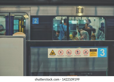 jakarta, Indonesia - June 06 2019: MRT station signs and symbol details.