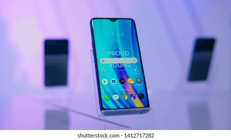 Jakarta, Indonesia - June 1, 2019: The Realme 3 Pro Android smartphone in has a 6.3-inch full-HD+ IPS display and is powered by Qualcomm Snapdragon 710 SoC.