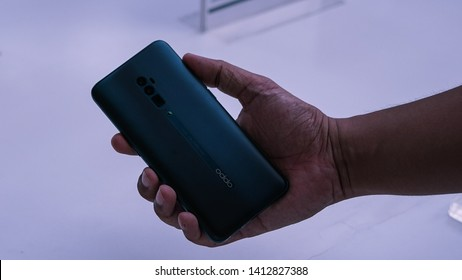 Jakarta, Indonesia - June 1, 2019: The Oppo Reno 10x Zoom is the new flagship of the maker and comes complete with a 13MP F/3.0 periscope camera with 10x hybrid zoom.