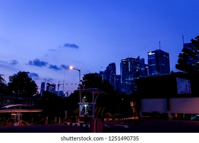 Jakarta, Indonesia - June 10, 2015: Balai Kartini Convention Hall Parking Area at Blue Hour