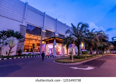 Jakarta, Indonesia - June 10, 2015: Balai Kartini Convention Hall at Blue Hour