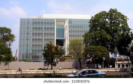 Jakarta, Indonesia - June 11, 2018: United Stated Embassy and Cosulates in Jalan Medan Merdeka No 3-5 Jakarta.