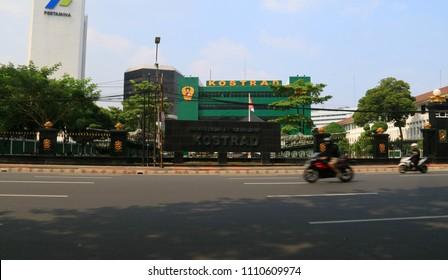 Jakarta, Indonesia - June 11, 2018: Headquarters of Army Strategic Command (Kostrad) in Jalan Merdeka Timur No 3 Jakarta.