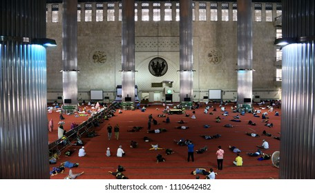 Jakarta, Indonesia - June 11, 2018: Indonesian Muslims are seen at the Istiqlal Mosque for Itikaf.