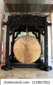 Jakarta, Indonesia - June 11, 2018: Large bedug (traditional wooden drum made of cow skin) at Istiqlal Mosque.