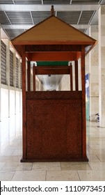 Jakarta, Indonesia - June 11, 2018: The wooden pulpit Minbar of Istiqlal Mosque.