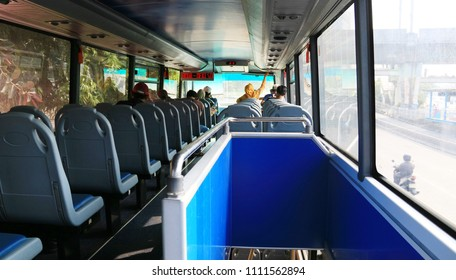 Jakarta, Indonesia - June 11, 2018: Interior of city tour bus (double decker bus) by Transjakarta.