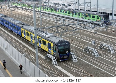 Jakarta, Indonesia June 11, 2019: MRT train set at depot Lebak Bulus.The Jakarta MRT train officially operates in March 2019 for Bundaran HI to Lebak Bulus in a distance of 16KM.