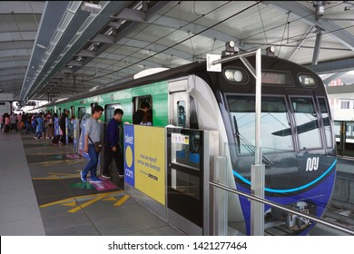 Jakarta, Indonesia June 11, 2019 : passengers are queuing to board the MRT train at Lebak Bulus  station. The Jakarta MRT start operation in March 2019 for Bundaran HI to Lebak Bulus .