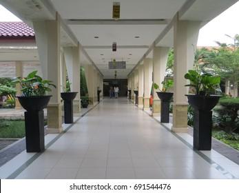 JAKARTA, INDONESIA - June 13, 2017: A corridor at Pelni Hospital.