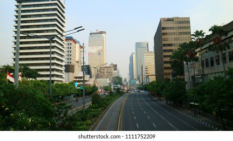 Jakarta, Indonesia - June 13, 2018: The traffic condition in Jalan MH Thamrin on D-2 of 2018 Eid al-Fitr was seen quite.