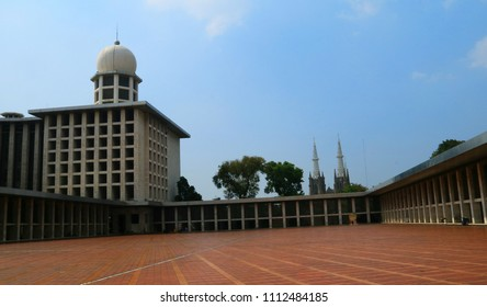 Jakarta, Indonesia - June 14, 2018: Masjid Istiqlal or Istiqlal Mosque in Central Jakarta. The national mosque of Indonesia was opened to the public in February 22, 1978.